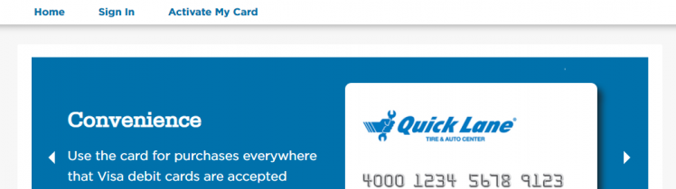 Sign into Bank of America Quick Lane Service Rebates Card account