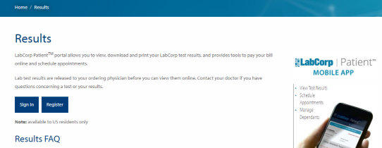 labcorp patients Login portal